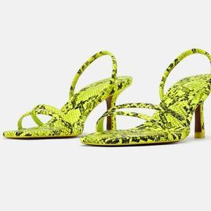 Zara Neon Animal Print Strappy Sandals